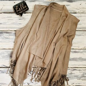 Taupe fringed vest! Very unique!